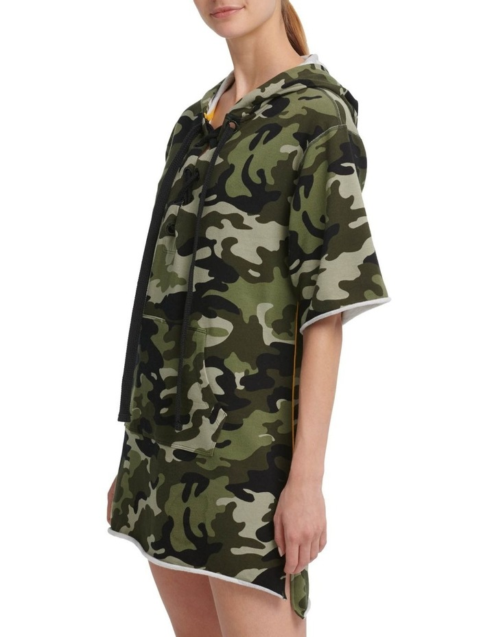 Camo Print Hooded Short Sleeve Sneaker Dress With Contrast Piping image 1