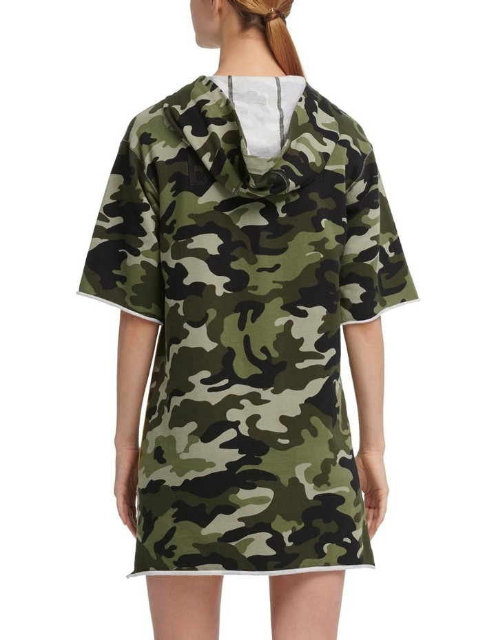 Camo Print Hooded Short Sleeve Sneaker Dress With Contrast Piping image 2