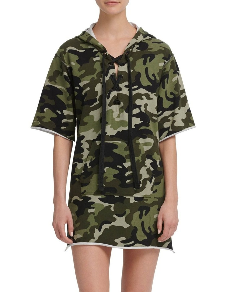 Camo Print Hooded Short Sleeve Sneaker Dress With Contrast Piping image 3