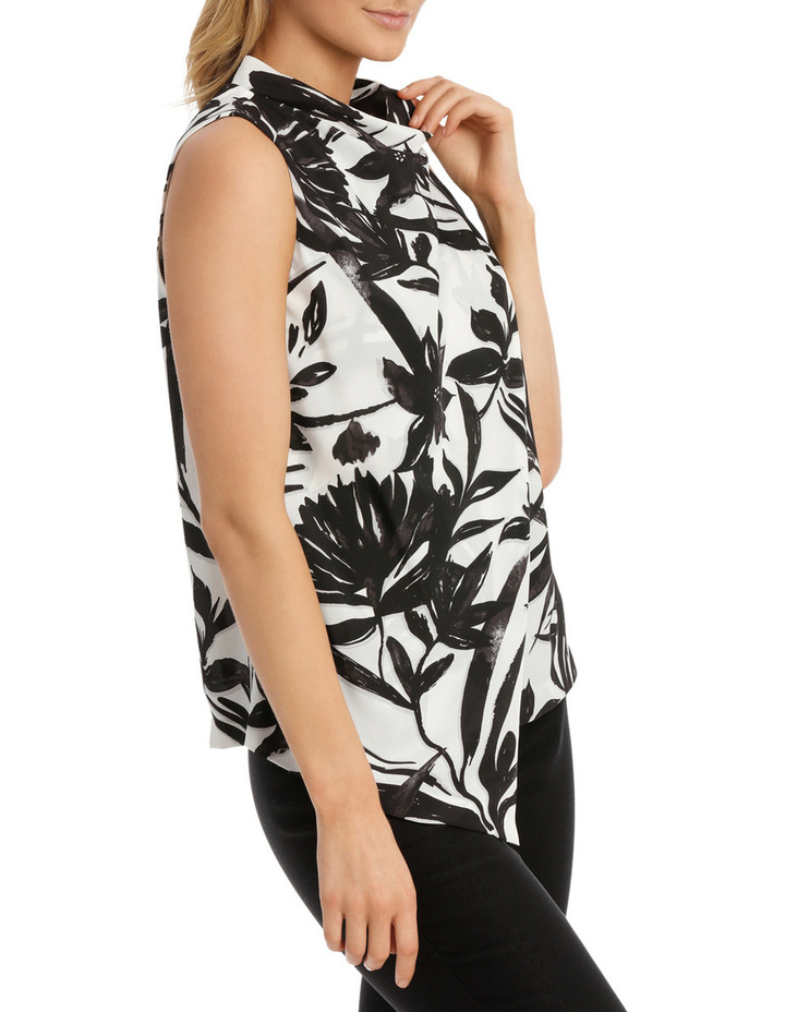 Printed Trapeze Cowl Neck Wrap Top image 2