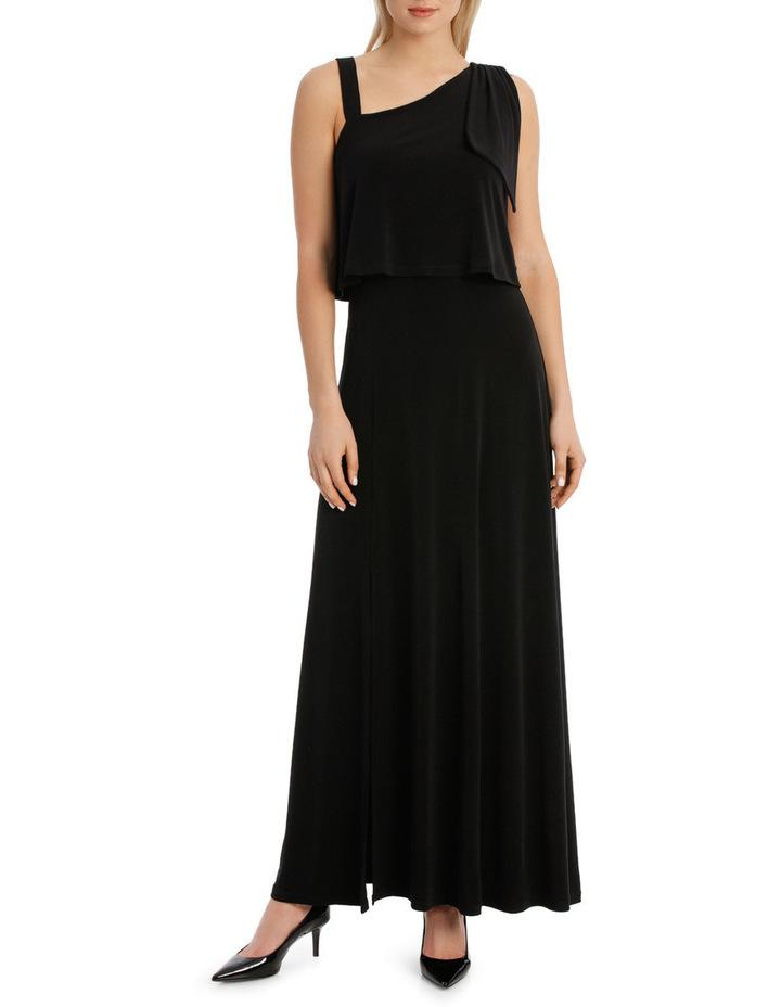 One Shoulder Black Midi Dress image 1
