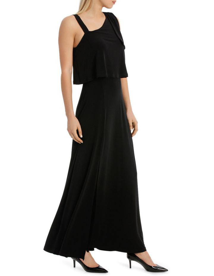 One Shoulder Black Midi Dress image 2