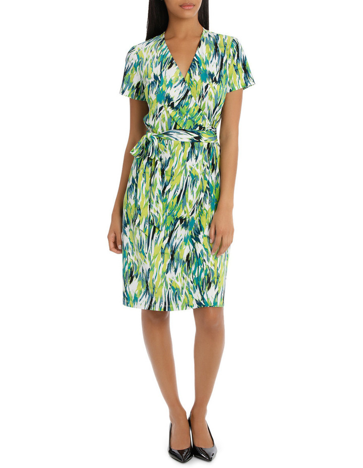 Chartreuse Cross Front Wrap Dress image 1
