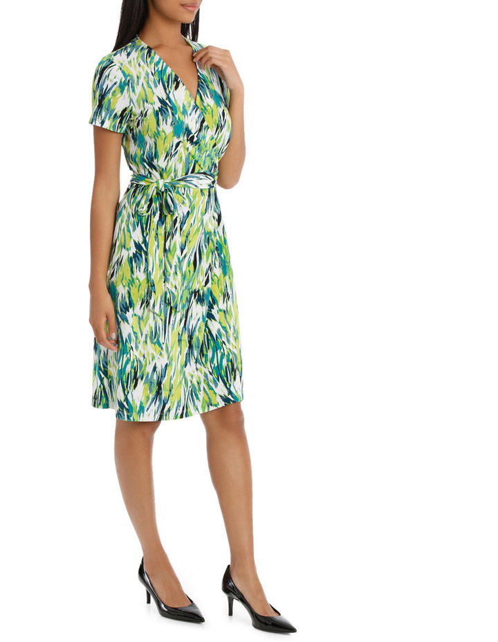Chartreuse Cross Front Wrap Dress image 2