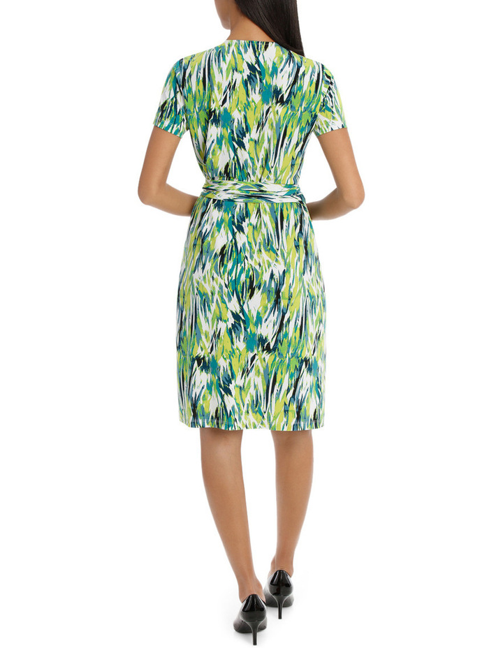 Chartreuse Cross Front Wrap Dress image 3