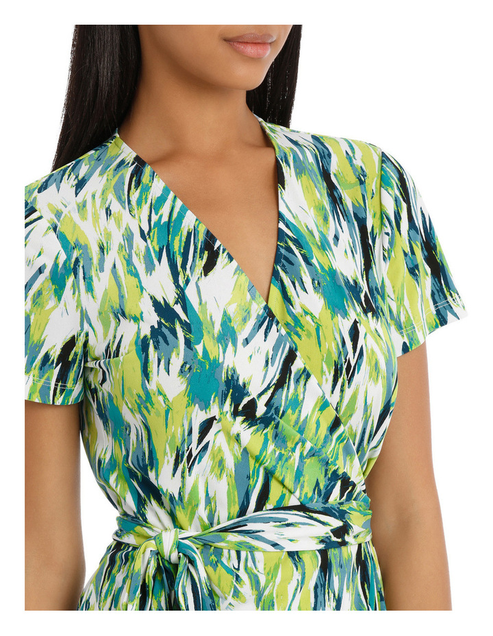 Chartreuse Cross Front Wrap Dress image 4