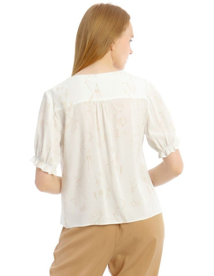 V-Neck Puff Sleeve Vintage Shirt image 3