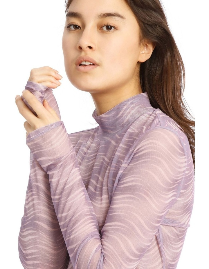 Printed Wave Long Sleeve Mesh Top image 4