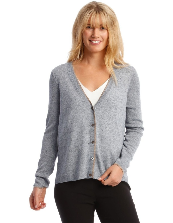 Short Linen Cardigan With Tipping image 1