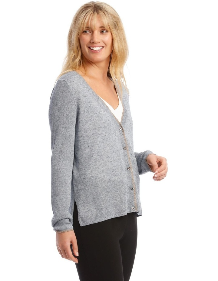 Short Linen Cardigan With Tipping image 2