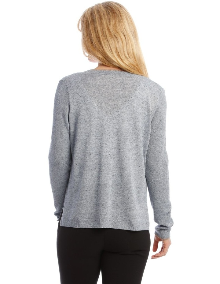Short Linen Cardigan With Tipping image 3
