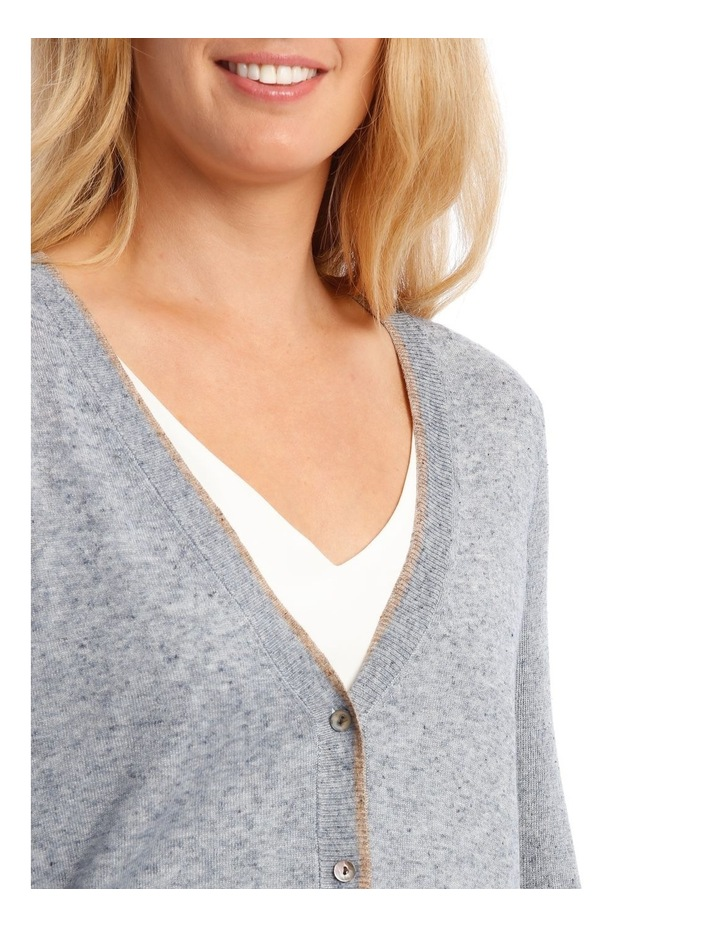 Short Linen Cardigan With Tipping image 4