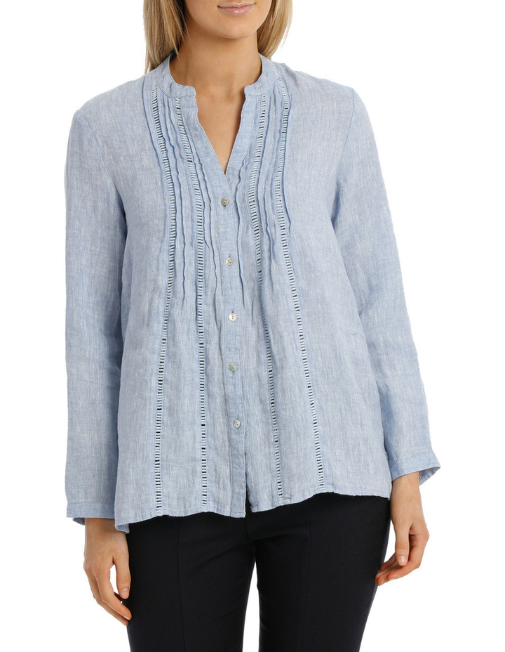 Chambray Linen 3/4 Sleeve Shirt image 1