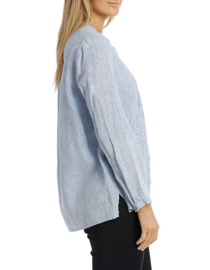 Chambray Linen 3/4 Sleeve Shirt image 2