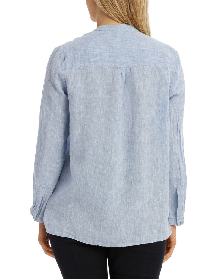 Chambray Linen 3/4 Sleeve Shirt image 3
