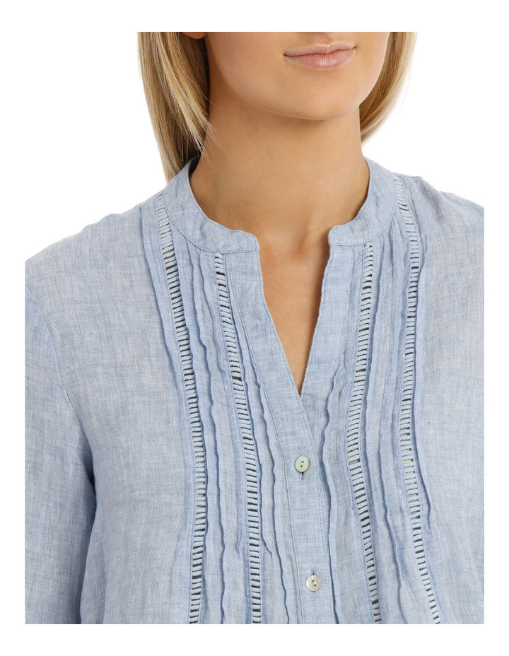 Chambray Linen 3/4 Sleeve Shirt image 4