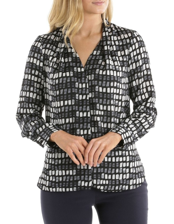 Grid Print Tuck Detail Blouse image 1