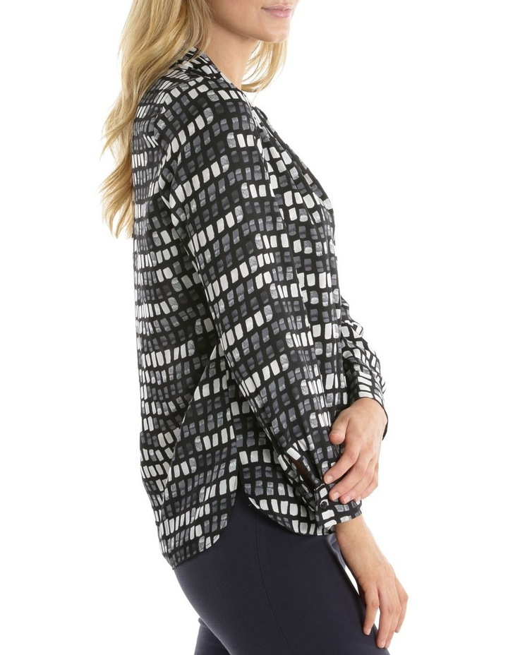 Grid Print Tuck Detail Blouse image 2