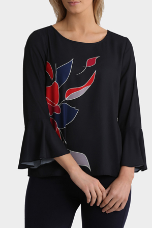 Trent Nathan - Placement Print Elbow Sleeve Top