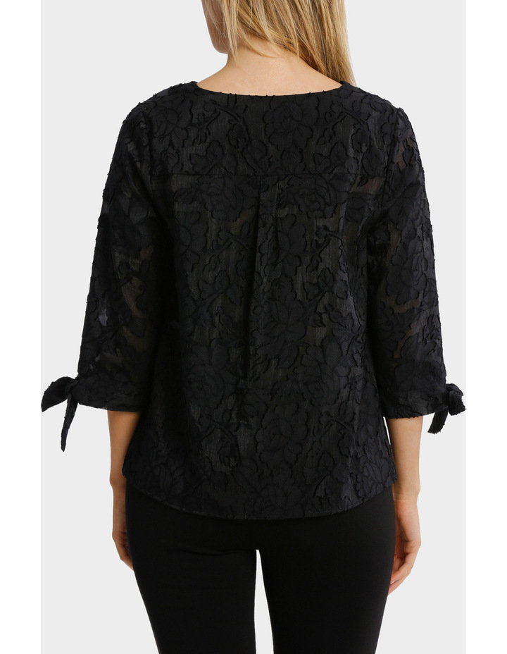 Textured Floral 3/4 Sleeve Top image 3