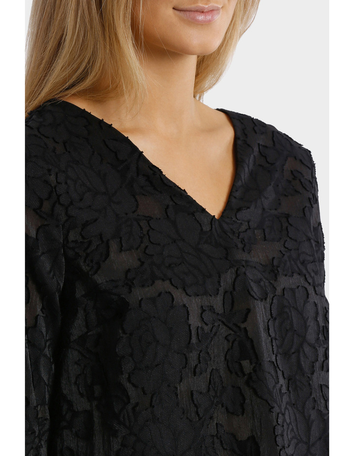 Textured Floral 3/4 Sleeve Top image 4
