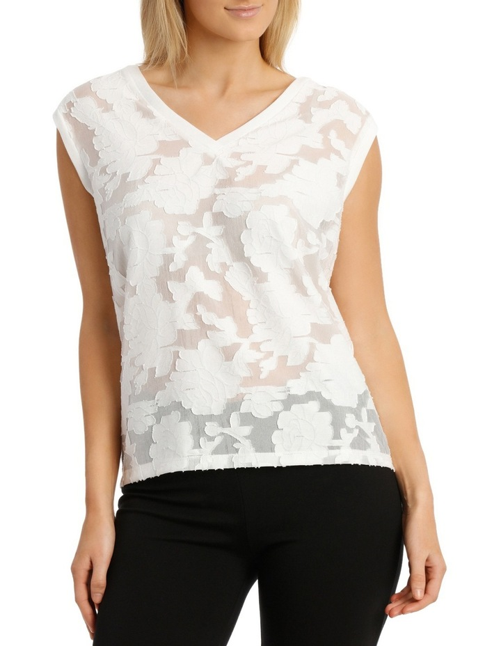 Textured Floral Knit Trim Sleeveless Top image 1