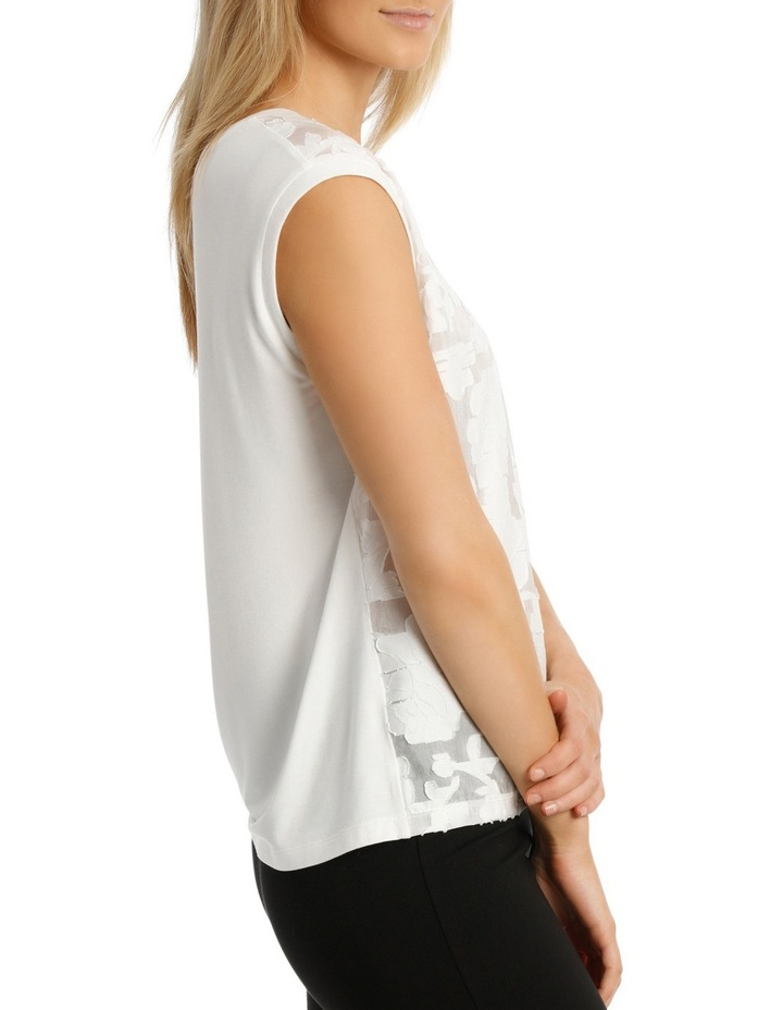 Textured Floral Knit Trim Sleeveless Top image 2