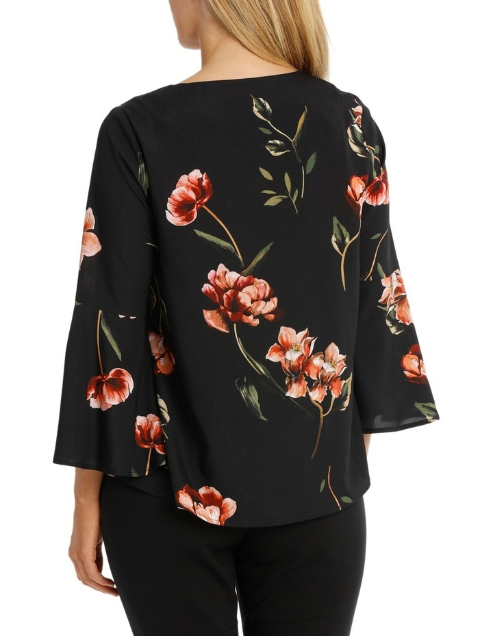 Painted Floral Fluted Sleeve Top image 3