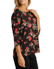 Trent Nathan - Rose Print 3/4 Sleeve  Top