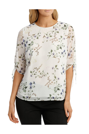 Trent Nathan - Slit Sleeve Floral Bunch Top