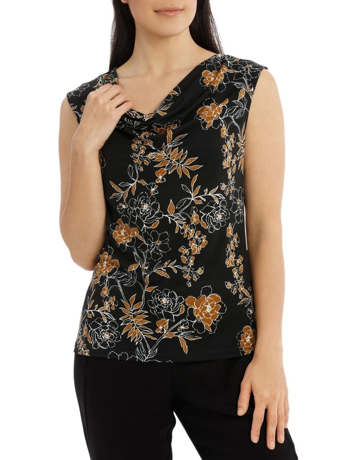 Carnation Print Sleevesless Cowl Neck Top image 1