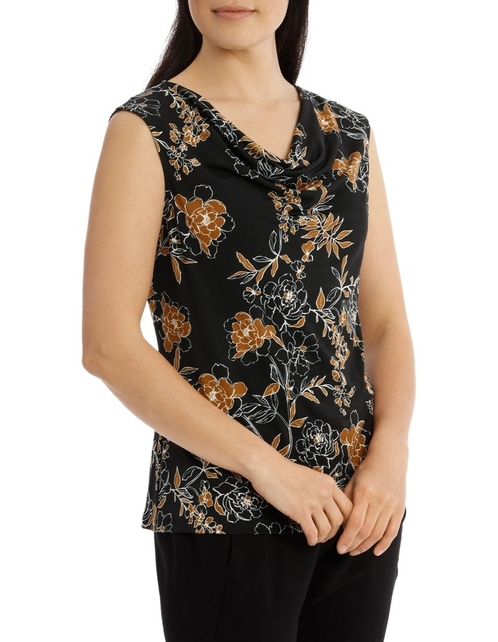 Carnation Print Sleevesless Cowl Neck Top image 2