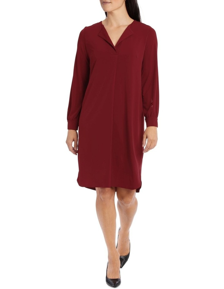 Red Tuck Front Tunic Dress image 1