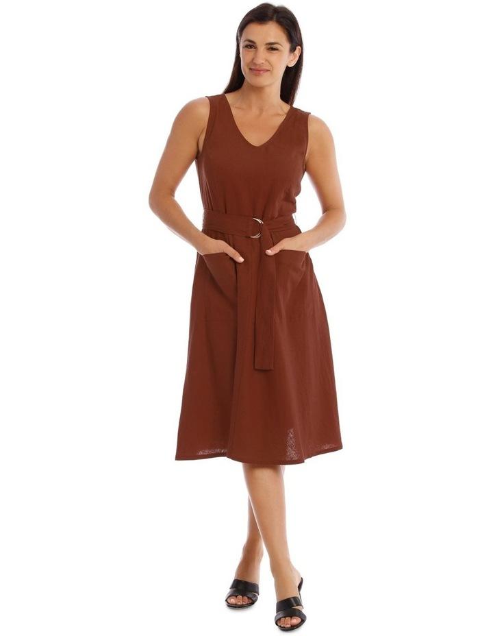 Linen Dress With V-Neck image 1