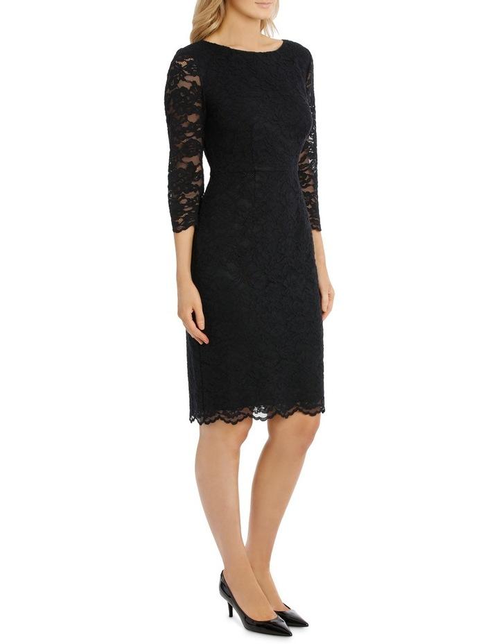 Midnight Lace Shift Dress 3/4 Sleeve image 2