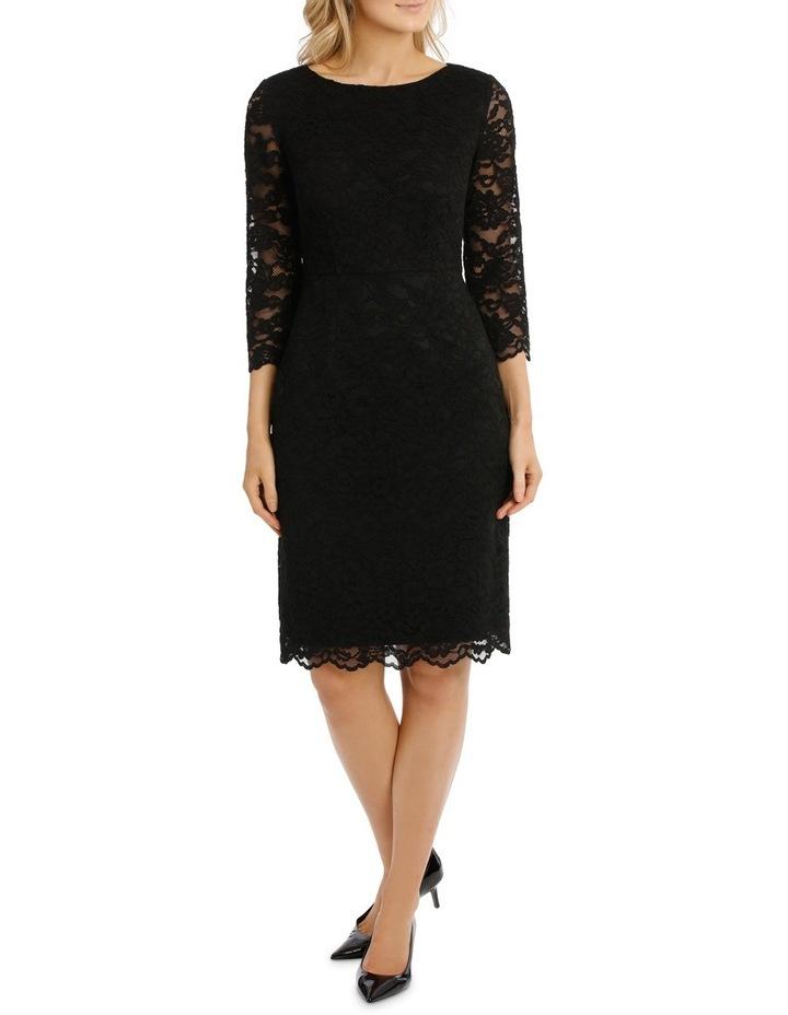 Black Lace Shift Dress 3/4 Sleeve image 1