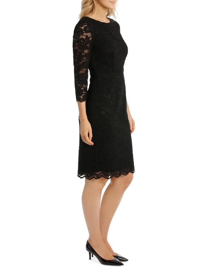Black Lace Shift Dress 3/4 Sleeve image 2