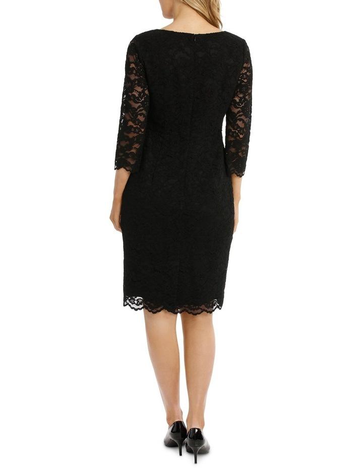 Black Lace Shift Dress 3/4 Sleeve image 3