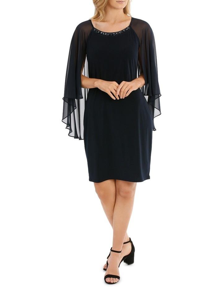 Embellished Neck Dress W/ Long Cape Overlay image 1