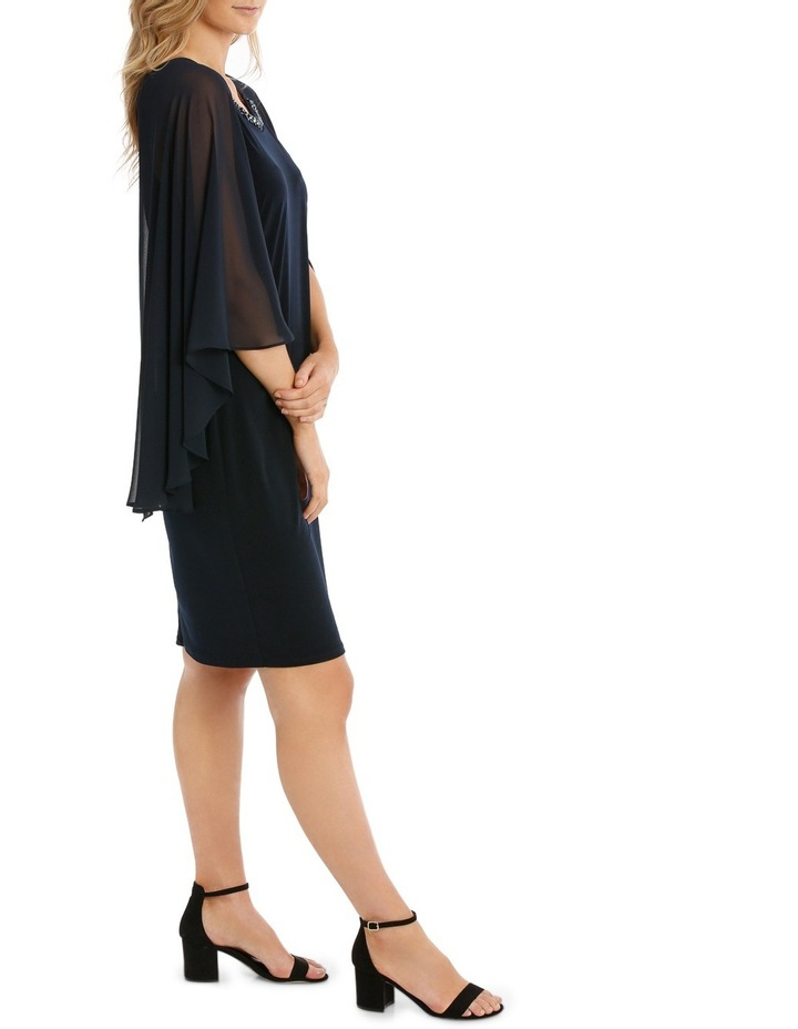 Embellished Neck Dress W/ Long Cape Overlay image 2