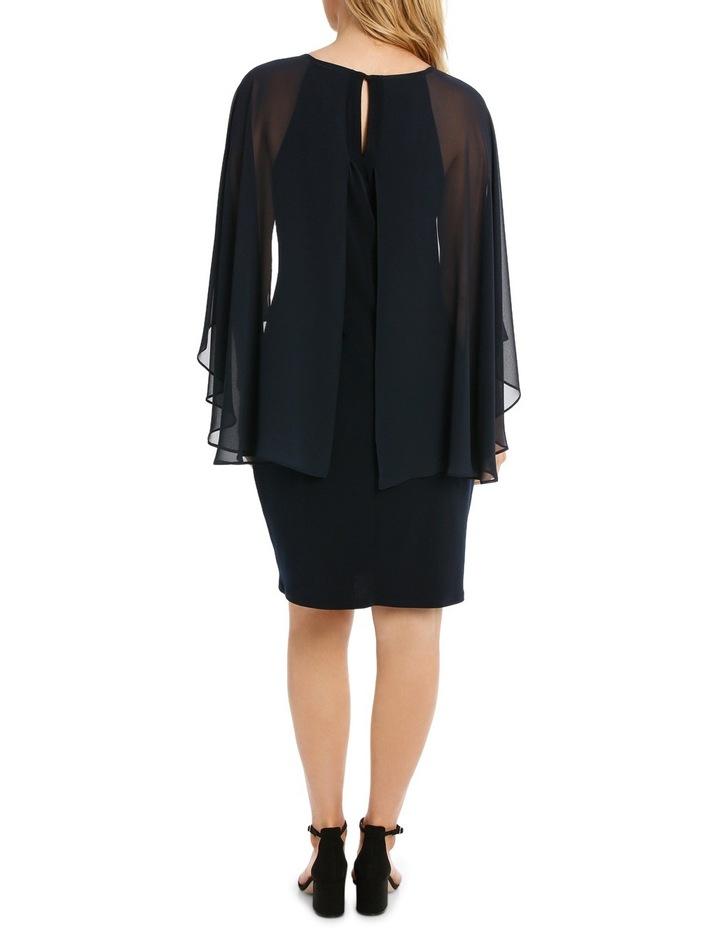 Embellished Neck Dress W/ Long Cape Overlay image 3