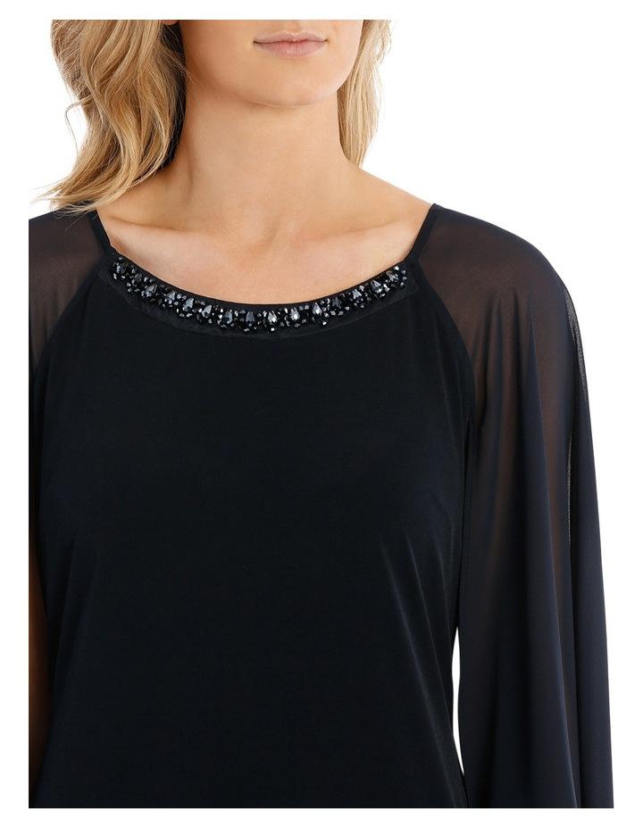 Embellished Neck Dress W/ Long Cape Overlay image 4