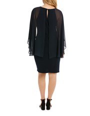 Trent Nathan Events - Embellished Neck Dress W/ Long Cape Overlay