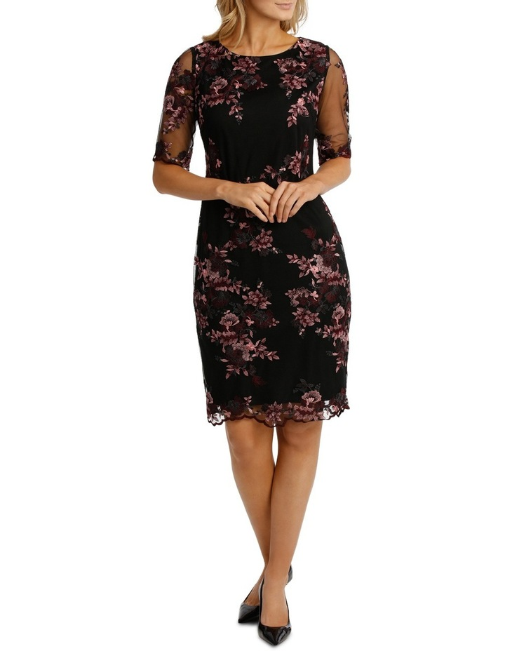 Embroided Mesh Lace Shift Dress image 1