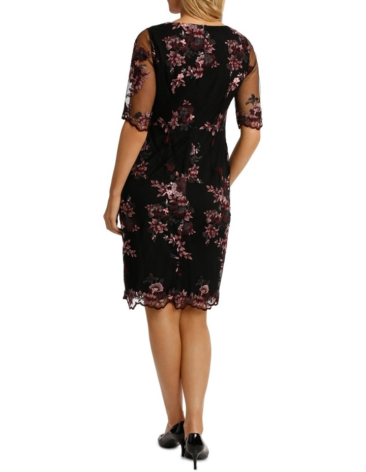 Embroided Mesh Lace Shift Dress image 3