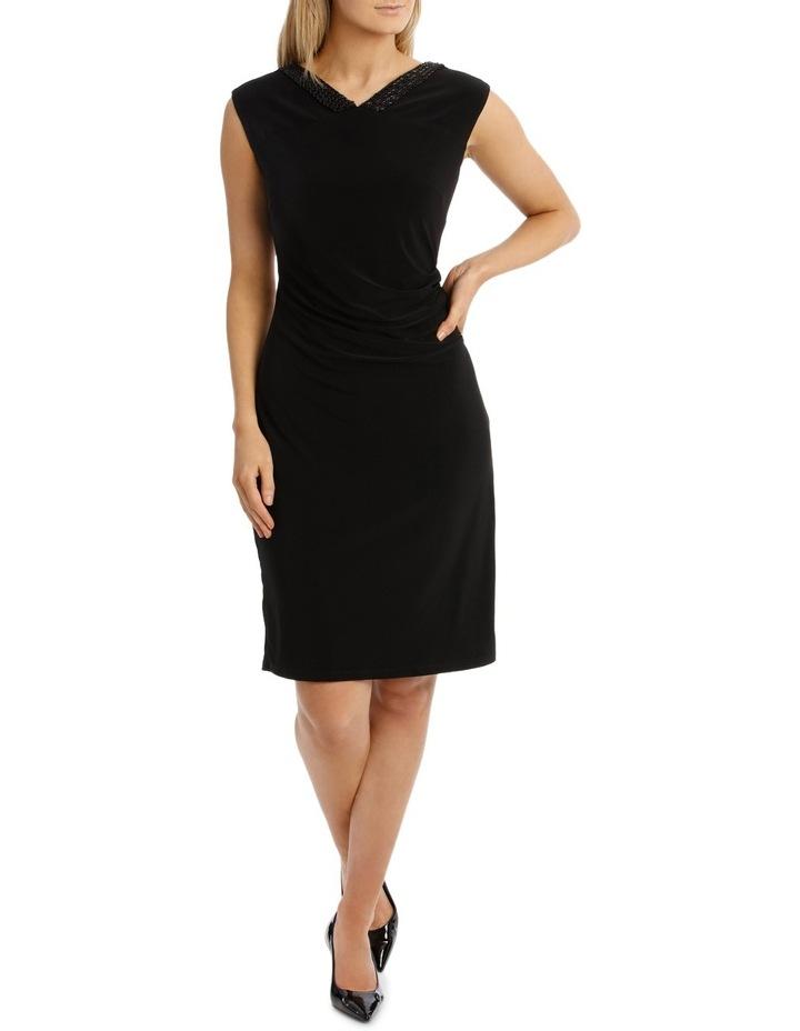 Black Beaded V Neck Jersey Dress image 1