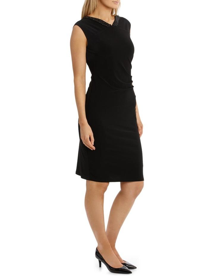Black Beaded V Neck Jersey Dress image 2