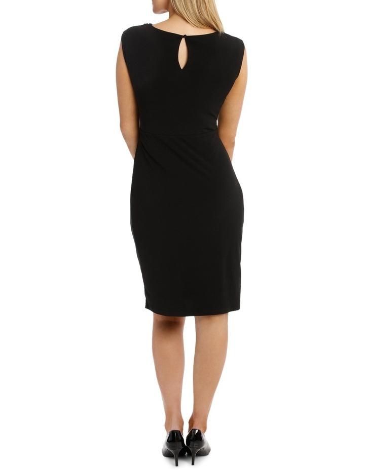 Black Beaded V Neck Jersey Dress image 3