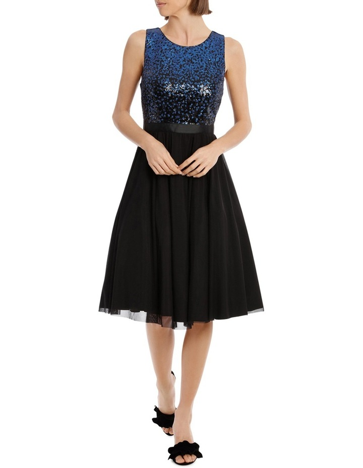 Silver And Navy Sequin With Navy Skirt image 1
