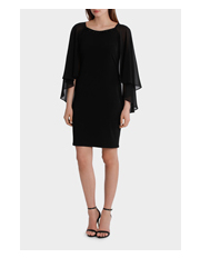 Trent Nathan Events - Embellished Neck Dress with Long Cape Overlay